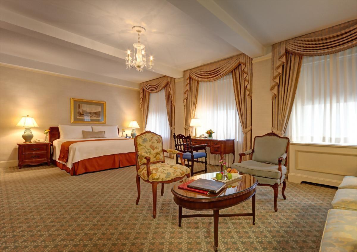Junior Suite with 1 King Bed and 1 Queen size sofa bed at the Hotel Elysee.  Approximately 450 square feet and suitable for up to 3 adults.
