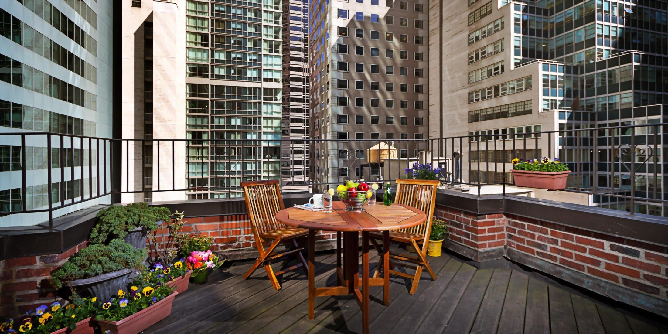 Outdoor Balcony at the Hotel Elysee in New York City.  Only 4 rooms include an out door balcony.