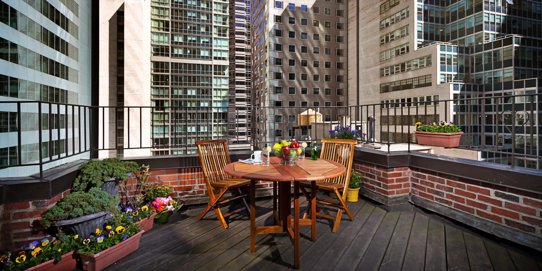 Outdoor Terrace only available in 4 very special rooms at the Hotel Elysee in New York City.