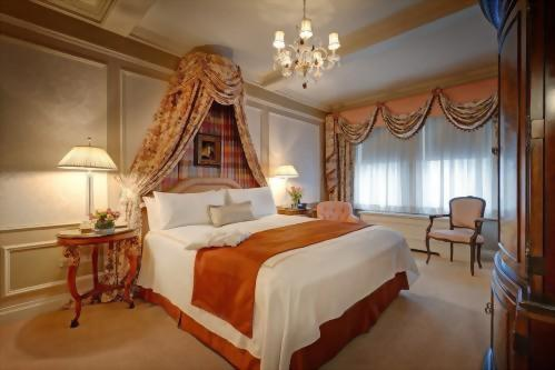 The bedroom of the Presidential Suite honoring Vaclav Havel offers a lot of light
