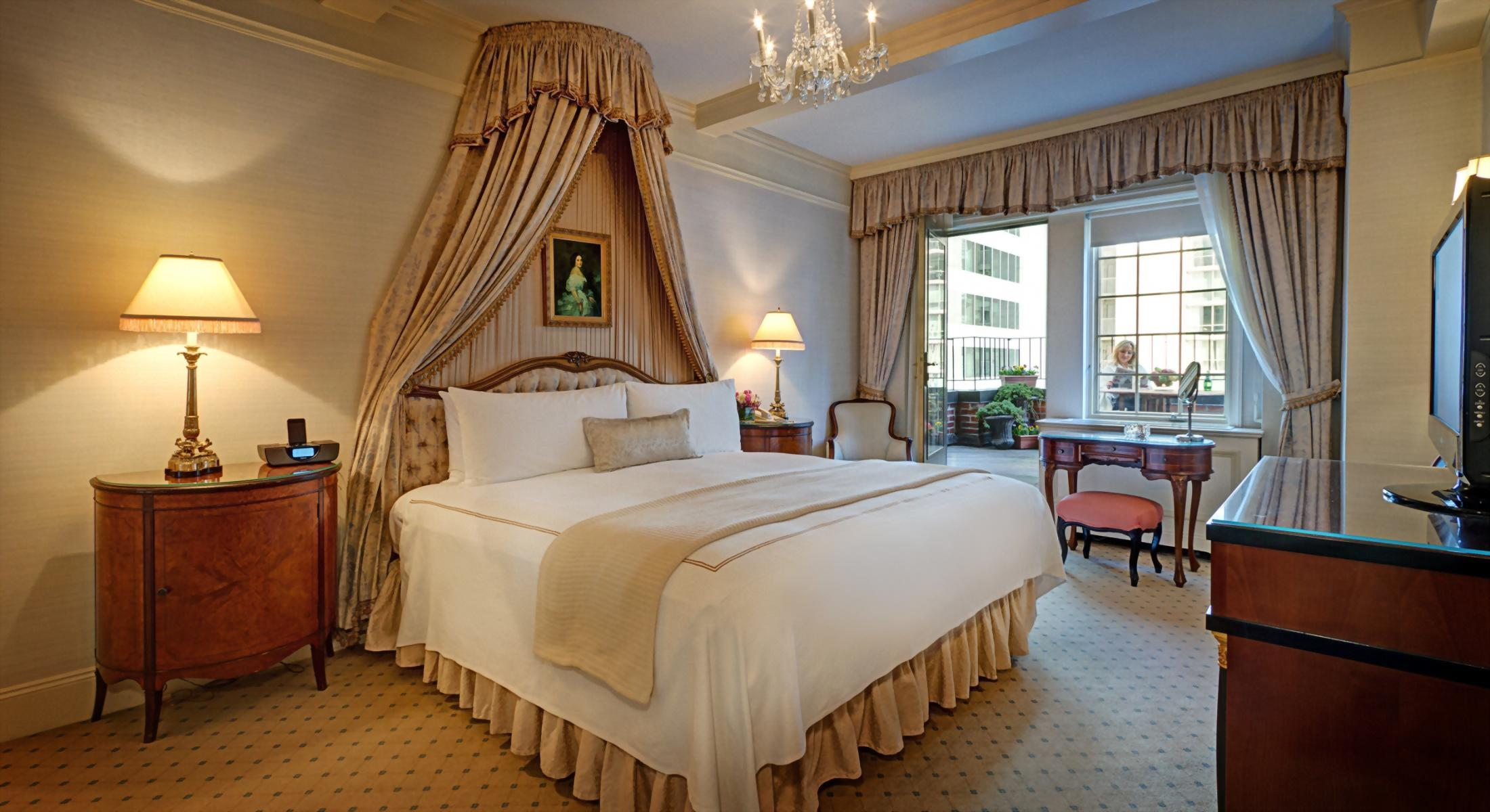 Bedroom of the Presidential Suite honoring Vladimir Horowitz at the Hotel Elysee.  This room has a beautiful balcony off the bedroom.