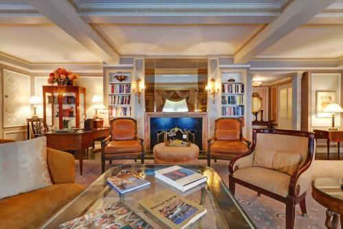 The Presidential Suite honoring Vaclav Havel features a large dining table and a full kitchen.