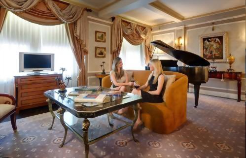 The baby grand piano in the Presidential Suite honoring Vaclav Havel adds a bit of charm and sophistication to this suite.